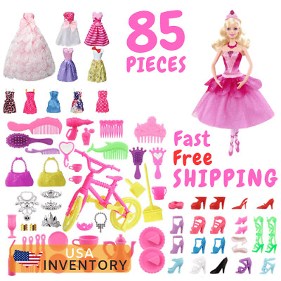 85 Pcs Barbie Clothes & Accessories Huge Lot Doll Party Gown Outfits Girl Gift