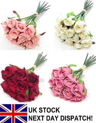 Artificial Rose Bouquet Silk Flowers Floral Valentine Ivy Vine Wedding VARIOUS