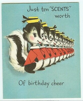 "VTG 1950s Greeting Birthday Card Skunk ""Scents"" clothes pin on nose HALLMARK"