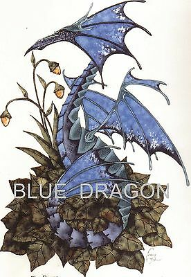 BLUE DRAGON amy brown 11x17 1990's RARE OOP  pagan fae OOP medieval print HTF