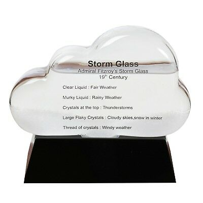 """Storm Cloud Weather Predictor Station - Glass Cloud and Black Wooden Base - 5""""H"""