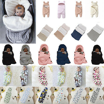 Newborn Baby Swaddle Wrap Sleeping Bag Bath Robe Infant Soft Bedding Blanket UK