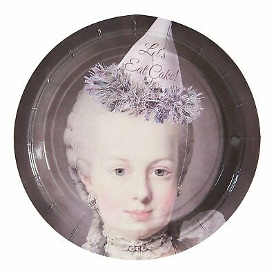 Marie Antoinette Cake Plates - Funny Disposable Paper Party Platters - 20 Count