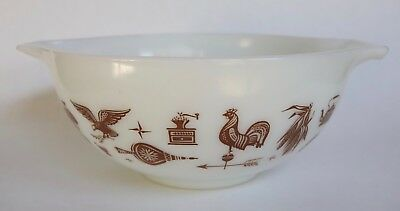 Vintage Mid Century Pyrex Mixing Bowl Early American Pattern