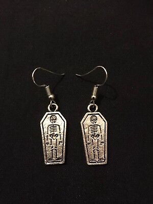 8179bf963 Silver Plated Coffin Earrings Goth Jewellery Gift Skeleton Unusual Quirky  Fun