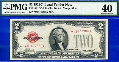 *Rare FR-1504* 1928-C $2 US Note PMG Extremely-Fine 40 # *01877389A