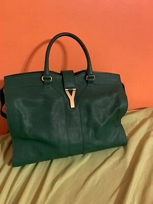 Authentic Yves Saint Laurent Cabas Chyc Tote Large Green Tote Bag 69a2ae3258