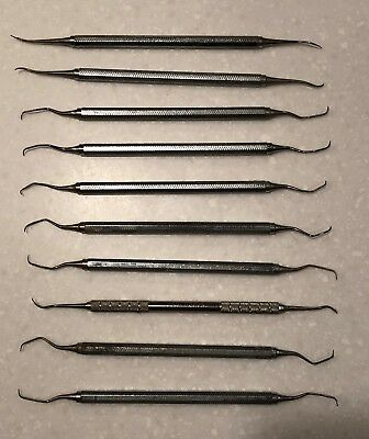 Vintage Professional Dental Picks Tools in used condition ~ Set of 10 Assorted