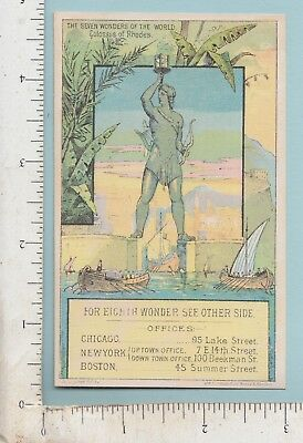 B544  Adams Westlake Stove trade card 7 Wonders Of The World Colossus of Rhodes