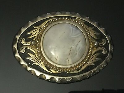 BEAUTIFUL Western Style STONE in SILVER & Gold Tone BELT BUCKLE , White Stone