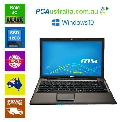 "MSI CR61 15.6"" Notebook Windows  INTEL PENTIUM 4GB RAM 120GB SSD DVD WI-FI CAM B"
