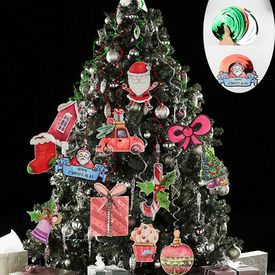 42 Pieces Christmas Ceiling Decorations Foil Swirl Hanging Xmas Outdoor Decor