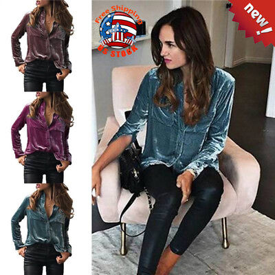 Women's Velvet Button Down Shirt V-Neck Long Sleeve Autumn Casual Loose Blouse