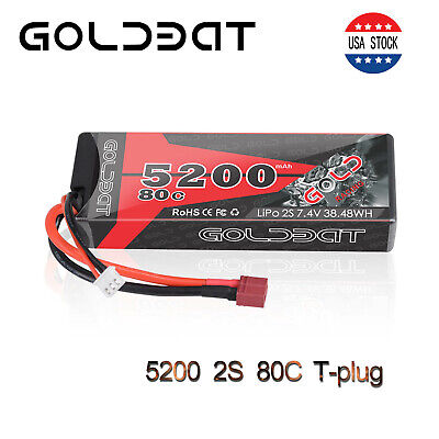 GOLDBAT 5200mAh 80C 7.4V 2S LiPo Battery Hardcase Deans Plug for RC Car Truck