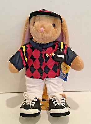 "Build A Bear Beige Bunny Rabbit Jockey Plush 15"" w/ Best Friend Bracelet"