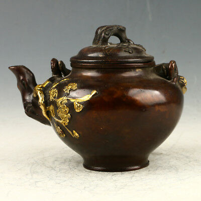 Chinese Collectible Red Copper Gilt Hand Carved Plum Blossom Teapot