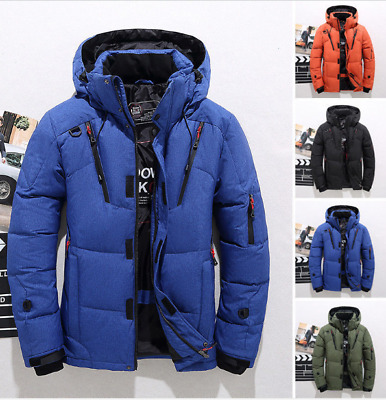 Men's Winter Warm Duck Down Jacket Ski Jacket Snow Hooded Coat Climbing Oversize