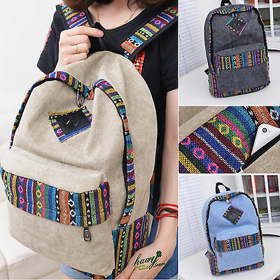 Womens Girls Canvas School Backpack Shoulder Bag Travel Rucksack Satchel Boho US