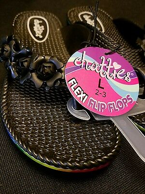 01b785cce NWT GIRLS CHATTIES Size 2-3 Black Floral Flip Flops Sandals -  7.99 ...