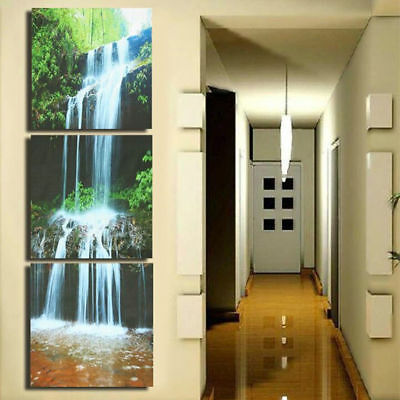 3 Cascade Large Waterfall Framed Print Painting Canvas Wall Art Picture Home