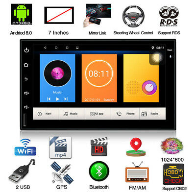 "HD Touch Screen Bluetooth Quad Core Stereo Radio 2 DIN 7"" MP5 Player GPS WiFi FM"