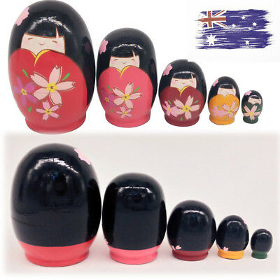 5x Wood Russian Painted Girls Nesting Dolls Matryoshka Cellection Gift Toy Favor