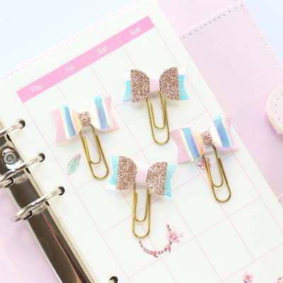 4pcs Cute Laser Bow-knot Design Clips Bookmark Page Clips Note Letter Paper Clip