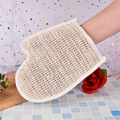 1X exfoliating bath glove natural sisal shower sponge cleansing body scrubber SR