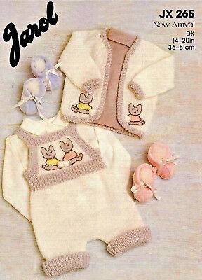 """""""COPY""""  Jarol-JX265  Baby / Child Romper, Jacket and Booties  Knitting Pattern"""