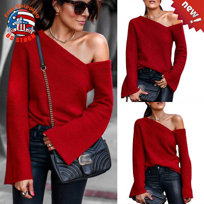 Sexy Women's One Shoulder Long Sleeve Jumper Casual Tops Fashion Pullover Blouse