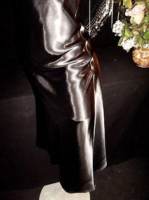 Vtg Satin Shiny Oily V Bodice Negligee Nightgown Gown Black Lame Lingerie M