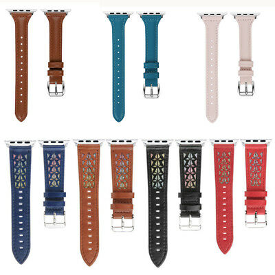 Genuine Leather Hollow Carved Watch Band Strap for Apple iWatch 3 2 1 38-42mm