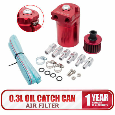 300ml Oil Catch Can Reservoir Tank With Breather Filter Baffled Universal Red
