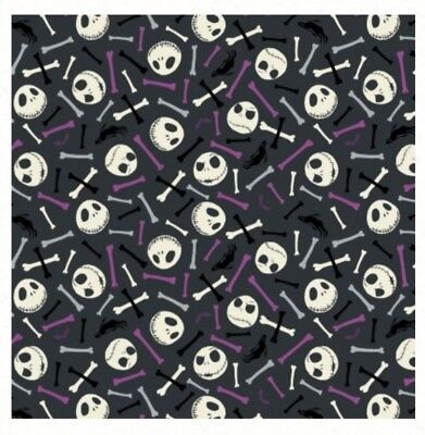 Nightmare Before Christmas Fabric * Skull & Bones * Glow In Dark * Free Post *