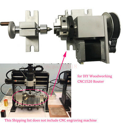 Rotary Axis, A-axis, 4th-axis,50mm 3-Jaw Chuck &Tailstock CNC Router Rotational