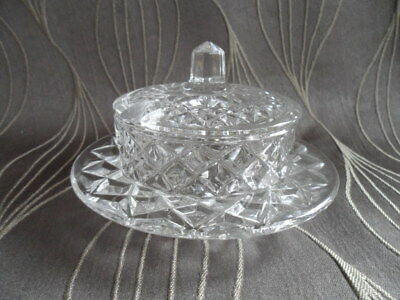 Stunning Cut Glass / Crystal Sugar Dish with Lid