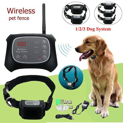 Wireless Pet Dog Electric Fence Containment System Waterproof Transmitter Collar