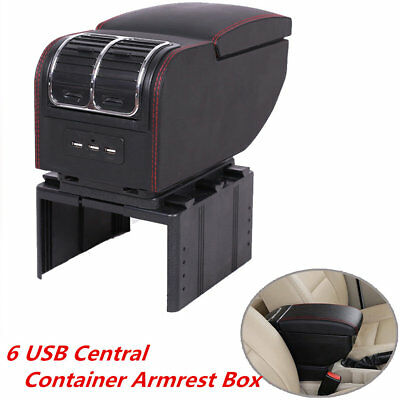 6 USB Car Central Container Armrest Box PU Leather Center Storage W/Cup Holder