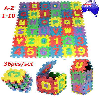 AU 36pcs Kids Baby Alphabet & Number EVA Foam Floor Puzzle Safety Play Mat Rug