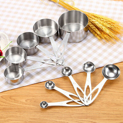 5Pcs/set Stainless Steel Cooking Spoons Measuring Baking Spice Teaspoons Utensil