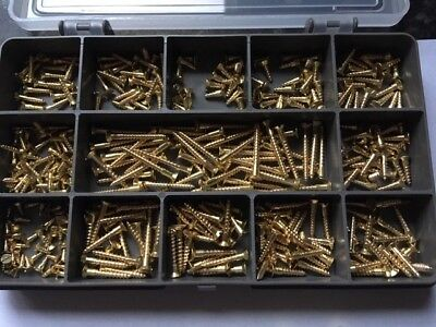 400 ASSORTED SOLID BRASS SLOTTED COUNTERSUNK WOODSCREWS 2g 3g and 4g