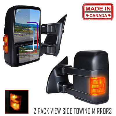 Towing Mirrors Fit 99-07 Ford F250-F550 Super Duty Power Heated Yellow Signals