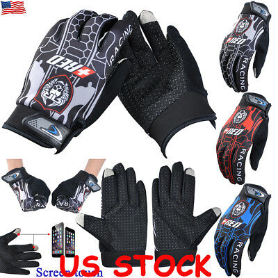 Mens Bicycle Anti-Slip Silicon Full Finger Gloves Outdoor Riding Bike Sports US
