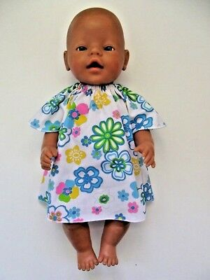 """DOLLS CLOTHES to fit 43cm (17"""") BABY BORN *Glittery Blue, Yellow Floral Dress*"""