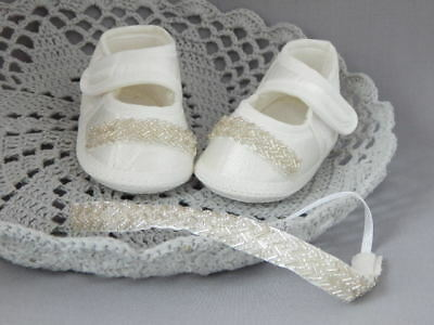 Baby shoes and headband christening set, ivory baptism shoes and tiara Handmade