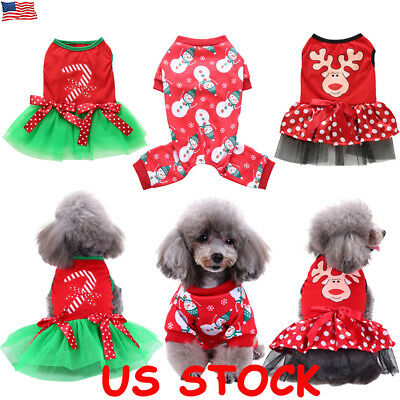 Christmas Pet Dog Clothes Puppy Cat Coat Jumper Party Xmas Costume Outfit S-XL