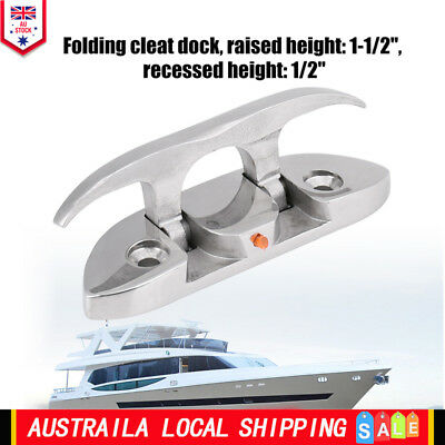 Folding Boat Cleat Mooring Cleat Polished 316 Grade Stainless steel 120mm Long
