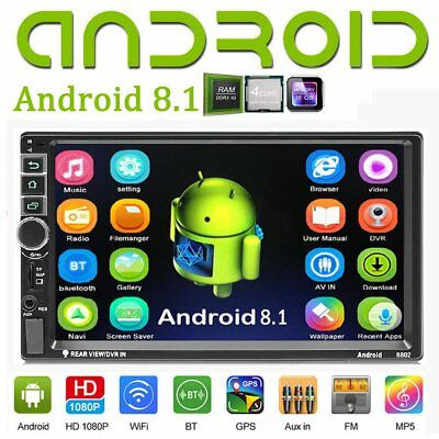 "Quad Core Doppel 2DIN Android 8.1 Autoradio GPS BT WiFi 7"" MP5 Mirrorlink+Kamera"