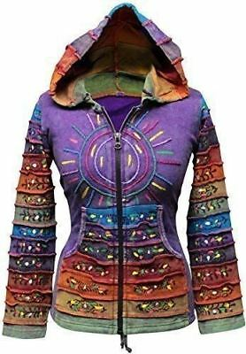 Women's Sun Patchwork Pixie Hippy Ribs Hoodie Faded Jacket Hippie Goth Jacket
