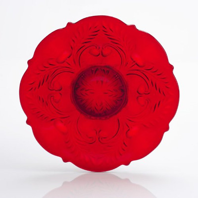 """Ruby Red Glass Serving Plate 12"""" Platter Inverted Thistle Pattern"""